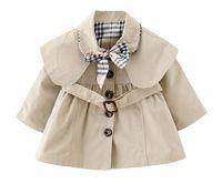 chaquetas de bebé niña caen al por mayor-Nueva Baby Girls Trench capa delgada con corbata de moño y cinturón Otoño primavera Moda Chaqueta a prueba de viento niñas con capucha Cape Cloak