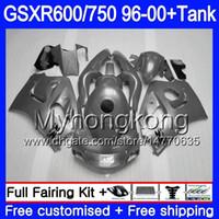 tanques suzuki al por mayor-Bodys + Tank para SUZUKI SRAD GSXR 750 600 1996 1997 1998 1999 2000 291HM.70 GSXR600 Gris brillante completo GSXR-750 GSXR750 96 97 98 99 00 Carenado