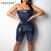 Wholesale womens leather jumpsuit resale online - New Women Leather Playsuits Women One Piece Backless Sexy Club Party Bodycon Rompers Womens Jumpsuit