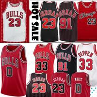 curry amarillo negro al por mayor-Camisetas de los Bulls 23 MJ Michael Jersey Coby 0 blanco NCAA Scottie 33 Pippen Retro Dennis 91 Rodman 45 MJ College Hombres Camisetas de baloncesto