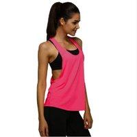 sporttrainingsweste großhandel-Neue Design Jersey Frau T-shirt Crop Top Yoga Gym Fitness Sport Ärmel Weste Singlet Lauftraining Kleidung für Frauen