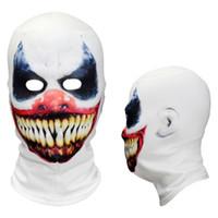 Wholesale clown puppets resale online - 3D Scary Clown Horror Smile Killer Clown Puppet Joker Halloween Party Balaclava Full Face Mask Grim Reaper Costume for Men Women