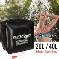 wunderbare tasche großhandel-40L Hohe Kapazität Wasser Taschen Falten PVC Outdoor Tragbare Duschtasche Camping Wandern Solar Beheizte Duschtasche Wunderbare Reise Kits