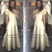 Wholesale strapless fitted backless wedding dresses online - Vintage Country Style taffeta Wedding Dresses with bow detachable flowers cape sleeves Fitted flare A line Ivory Bride Bridal Gowns