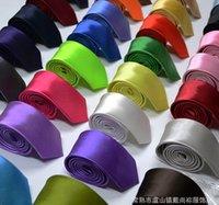 lazo de matrimonio al por mayor-Nuevo Corbata para hombre y para mujer Flaco Color sólido Liso Estrecho puro Corbata 5CM Ocio Monocromático Lado claro Lazo y novio Matrimonio