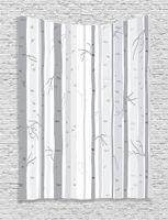 gráficos de pared modernos al por mayor-Gray Tapestry Birch Trees en otoño, otoño, ramas, bosque, con colores claros y suaves, moderno, gráfico, impresión, tapiz, dormitorio, tapiz