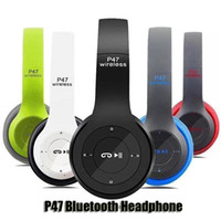 bluetooth kulaklık tf kartı toptan satış-P47 Kablosuz Bluetooth Kulaklıklar Gürültü Azaltma Gaming Headset Stereo Müzik Destek TF Kart Katlanabilir Boyun bandı Kulaklık ile Paketi DHL