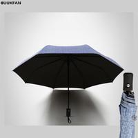 iş şemsiyeleri toptan satış-Otomatik Şemsiye Yağmur güneşli Kadın Klasik Iş Üç Katlanır Şemsiye Marka Rüzgar Geçirmez Siyah Golf Şemsiye Şemsiye