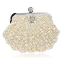 ingrosso portafogli perline-Elegante pochette da sera da donna con catena di perle bianche perline Borsa a tracolla Borse da donna Portafogli per la cena di nozze