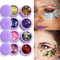 lidschattenblitz großhandel-Macaron Metall Lidschatten Laser Pailletten Flash Glitter 3D Augen Make-Up Party Körper Gesicht Bilden Palette