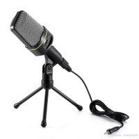micrófono para pc skype al por mayor-Micrófono de sobremesa con cable de condensador y soporte de soporte para PC portátil con Skype de grabación de 3,5 mm
