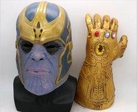 ingrosso nuovi giocattoli caldi adulti-Hot Avengers 4 Endgame Thanos maschera e guanti 2018 Nuovi bambini Halloween cosplay Lattice naturale Infinity Gauntlet Toys B