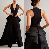saia destacável preta venda por atacado-2020 Ashi preto do estúdio Macacão Vestidos de noite com destacáveis saia V Neck Prom Vestidos mulheres mais baratos formais vestido de festa