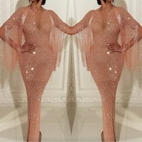 Wholesale sequin see cocktail dresses online - 2019 Arabic See Through Sequins Mermaid Prom Dresses Rose GOld Tassel Evening Gowns Ankle Length Split Cocktail Party Gowns