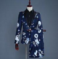 официальные брюки для мужчин оптовых-Пиджак мужской костюм жениха с брюками мужские печатные костюмы певица звездный стиль танцевальная сцена одежда вечернее платье синий