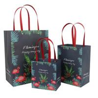ingrosso borse da fiori verticali-12 pz / lotto 31 * 24 * 13 centimetri maniglia verticale borsa vestiti pacchetto di vestiti di colore solido con lettere Flamingo fiore orso sacchetti di carta