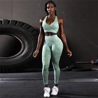 ingrosso abbigliamento da palestra-Camouflage Sport Yoga Set Fitness Tuta da donna Sport Suit da jogging Training Running Set Reggiseno sportivo + Legging Yoga Gym Abbigliamento