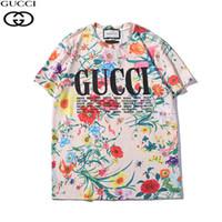 vêtements colorés achat en gros de-Mens T Shirt 2019 Eté Nouvelle Tendance Vêtements Lettres De La Mode Imprimer Manches Courtes Magnifique Fleur Motif Haut Coloré Tees