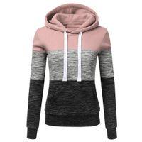 bayanlar hoodies terlemeleri toptan satış-Kapüşonlular Kadınlar Tişörtü Moda Kadın Casual Hoodies Kazak Patchwork Bayanlar Kapşonlu Kazak Kadın Giyim terlemeleri Sıcak