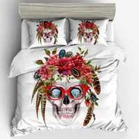 Wholesale red king pillowcases for sale - Group buy Floral Skeleton Bedding Set Cute Creative Design Duvet Cover Pillowcases US Size Twin Full Queen King