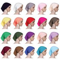 bufandas de sol al por mayor-Mujeres musulmanas Casquillo del pañuelo de la cabeza Moda dama Color sólido Turbante Clsaaic Beanie Sombrero Señora Playa Sol Bufanda TTA1805