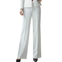 pantalones holgados coreanos de las mujeres al por mayor-Pantalones de moda para mujer Naviu Baggy Down Big Ol Autumn Korean Ladies Black Pants White Size Small Medium Pantalon Femme