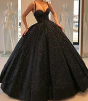 15 kişilik siyah elbiseler toptan satış-Siyah Sequins Quinceanera Elbiseler 2019 Mütevazı Köpüklü Spagetti Sapanlar Tatlı 16 Balo Balo Abiye Doğum Günü Partisi Vestidos De 15