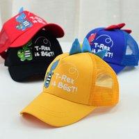 çocuklar hayvan beyzbol kapakları toptan satış-2019 Yeni Sevimli Rahat Çocuklar Dinozor Şapka Pamuk Örgü Beyzbol Kapaklar Erkek Kız Yaz Çocuk Karikatür Hayvan Güneş Kap Siyah