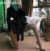 ingrosso arancione su stivali al ginocchio-2019 estate nuovi spessi con stivali sopra il ginocchio stivali da donna in mesh trasparenti scarpe da donna alla moda grigio arancione A258
