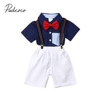 ingrosso gentleman del bimbo del bambino-2019 Abbigliamento estivo per bambini Toddler Kid Baby Boy Gentleman Outfit Set Camicia fiocco a righe blu + Pantaloncini Salopette tuta 2 pezzi Abito