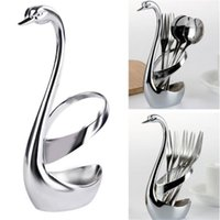 Wholesale popular knives for sale - Group buy Popular Style Stainless Steel Fruit Food Fork Spoon Knife Cutlery Swan Base Holder SH190926