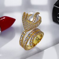 ingrosso porcellana di zircone-Anello con perla in oro 18 carati / platino placcato con anello zircone cubico di alta qualità Gioielli di moda Cina all'ingrosso