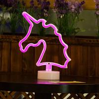 sostenedores de la muestra de la tabla al por mayor-OHANEE apta de la aduana del unicornio señales de neón, señal de neón del LED de luz con la base del sostenedor para el hogar fiesta de cumpleaños de dormitorio Mesita de luz Decoración infantil