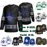 toronto hojas de arce jersey negro al por mayor-# 34 Auston Matthews Jersey Toronto Maple Leafs Día de San Patricio Saludo al servicio OVO Negro Oro 2019 Allstar Mens Lady Yuuth Jerseys