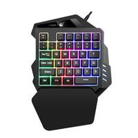 teclados de jogos iluminados venda por atacado-ZELOTES K13 USB Com Fio Único Mão Gaming Teclado Luz RGB Mix-cor Retroiluminado Teclado 35 Teclas YE1.9