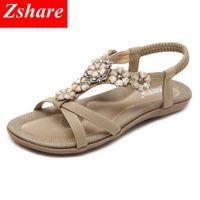 ingrosso sandalo beige bohemien-Bohemian Women Sandals 35-42 Size 2019 Rhinestone Beaded Summer Beach Sandals Women Flip Flops Confortevole Ladies Flat
