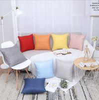 office decor color toptan satış-Keten Yastık Kapakları Katı Dekoratif Yastık Kılıfı Şeker Renk Atmak Yastık Kapakları Ofis Araba Kanepe Ev Dekor 8 Renkler YW2068