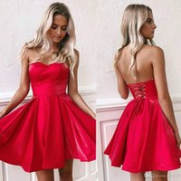 Wholesale strapless evening dresses resale online - 2020 Fall Red Strapless Short Homecoming Dresses Cheap Open Back Party Cocktail Gown Above Knee Length Prom Evening Cocktail Wear BM0940
