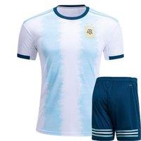 argentinien zuhause messi jersey großhandel-Argentina 2019 Copa América Home Trikot Fußball-Set Trikot MESSI Fußball Trikot AGUERO Top kurze Hose Dybala Trikot de foot HIGUAIN ICARDI