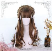 Wholesale long hair straight brown girl resale online - Women s Harajuku Girl Lolita Brown Khaki Long Curly Hair Cosplay Princess Wig