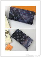 Wholesale long male wallets resale online - M62665 M60017 Pochette Voyage Male Zipper Clutch Handbags Women Wallets With Classic Pattern Coins Cards Holder Long Vitton Wallet