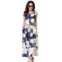 76c56d3523e Date Vintage robe florale femelle femmes robe d été coton décontracté lin  sans manches élégant bleu robe noire robe