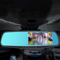 Wholesale high definition electronics resale online - 4 Inch Car DVR camera Rearview Mirror Double Lens Electronic Dog High Definition Night Vision Vehicle Driving Recorder