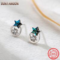 Wholesale genuine zircon earrings for sale - Group buy S925 Crystal Star Zircon Earrings Blue Crystal Pentagon Zircon Ear Nail Sleep Without Ear Nail Women Genuine Stone F465