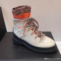 ingrosso scarponi scarpe miste-Autunno e l'inverno delle nuove donne di stringate in pelle di vitello dimensioni scarpe fibre miste di lusso signore del progettista stivaletti moda casual di alta qualità 35-40