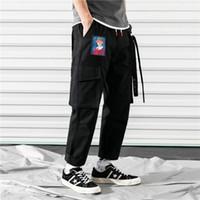 ingrosso pantaloni bagagli harems hip hop-ZK 2019 Tasche Pantaloni Harem da uomo Pantaloni da jogging Casual Pantaloni larghi RIbbon Pantaloni tattici Harajuku Streetwear Pantaloni Hip Hop