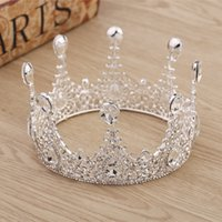 coroas redondas para noivas venda por atacado-Moda feminina prata princesa cabelo jóias rodada de cristal de casamento hairpin pérola coroa flor festival presente