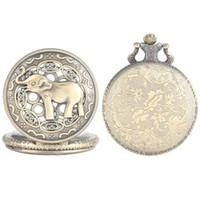 Wholesale elephant cases online – custom YISUYA Vintage Pocket Watch Quartz Analog Elephant Pattern Case Alloy Pendant Watch Link Chain Retro fob cep saati