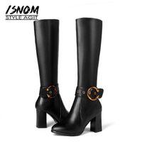buenos zapatos de goma al por mayor-Isnom Rodilla Alta Botas de Mujer de Cuero de Vaca Zip Calzado de Goma Niza Pop Winter Warm Lady Shoes Tacones Altos Botas de Gran Tamaño 22-55