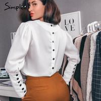 weiße puff ärmel bluse großhandel-Simplee V-Ausschnitt Frauen Bluse Shirt Puff Sleeve Button Weiße Bluse Herbst Winter Lady Shirt Top weibliche Büro Chiffon Bluse TopsMX190827
